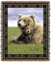67x53 BEAR Cub Wildlife Nature Tapestry Throw Blanket - $46.50