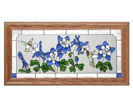 22x11 Stained Art Glass HUMMINGBIRD Columbine Floral Framed Wall Suncatcher - $60.00