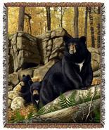 67x53 BEAR Cubs Wildlife Tapestry Afghan Throw Blanket - $46.50