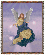 67x53 ANGEL Religious Tapestry Afghan Throw Blanket - $46.50