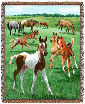 67x53 HORSE Colt Foal Tapestry Afghan Throw Blanket - $46.50