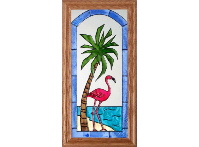 7X10 PALM TREE Tropical Stained Art Glass Suncatcher
