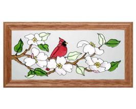 22X11 Stained Art Glass CARDINAL Dogwood Floral Bird Framed Suncatcher Panel  - $60.00