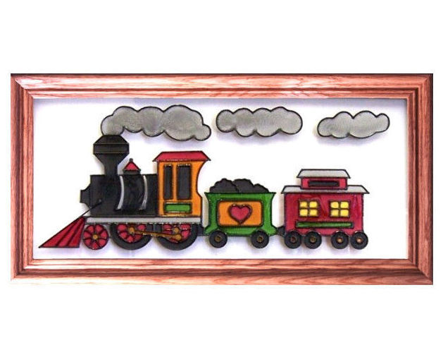 22x11 Stained Art Glass TRAIN Wall Hanging Framed Suncatcher Decor