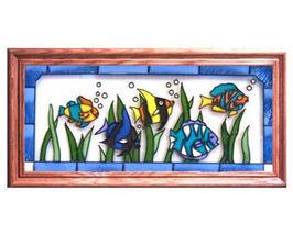 22x11 Stained Art Glass TROPICAL FISH Framed Suncatcher  - $60.00