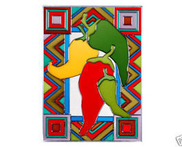 10x14 CHILI PEPPERS Jalapeno Stained Art Glass Hanging Suncatcher - $50.00