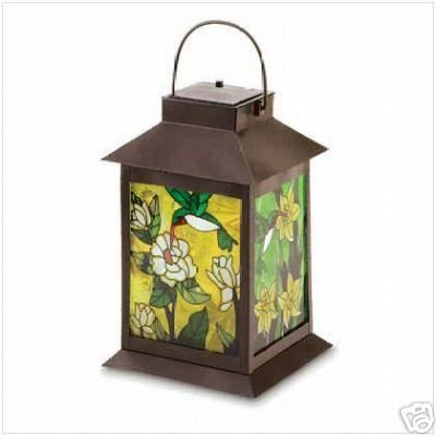 SOLAR Hummingbird Tabletop Hanging Lantern Light 11 3/4