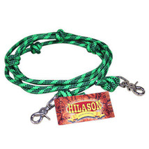 8 Ft Hilason Mountain Rope Knotted Barrel Horse Rein Round Trigger Snap Green U- - $15.83