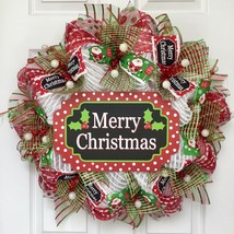 Merry Christmas Swiss Dot Christmas Wreath Handmade Deco Mesh - $92.99