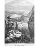 NEVADA Rocky Mountains Donner Lake by Thomas Moran - 1883 German Print - $16.20