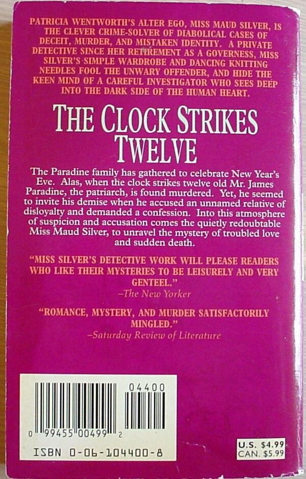 Miss Silver mystery THE CLOCK STRIKES TWELVE 1st Print Harper pb Wentworth