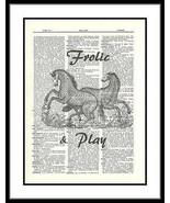 Flourished Horses Animal Dictionary Art Print Frolic Play Mixed Media an... - $10.99