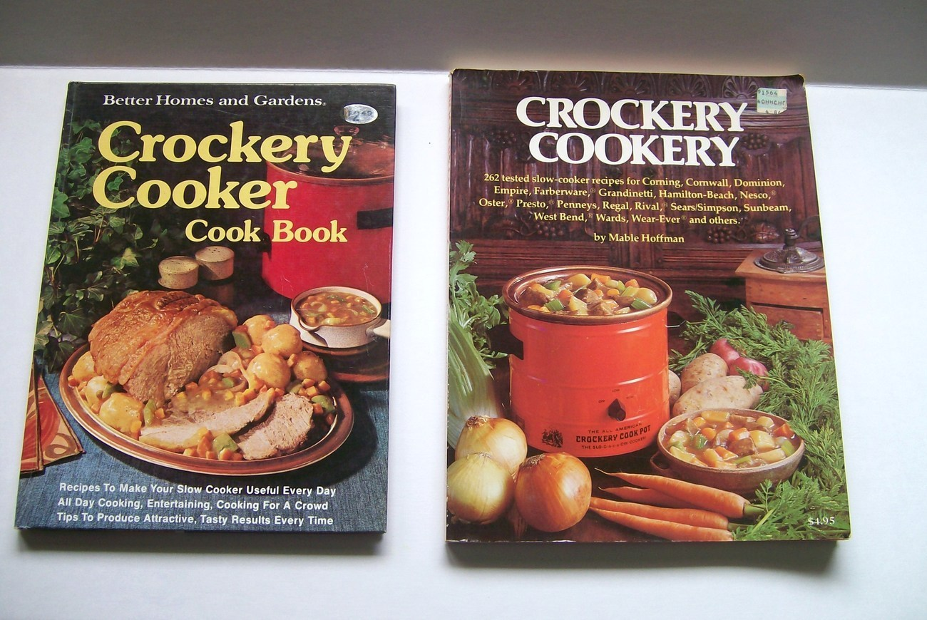 Two_vintage_crockery_crock_pot_recipes_cookbooks