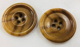"Buttons 1960-70's Brown Large 1 1/4""W 31.75mm 4-hole blazer jacket crafts  - $12.86"