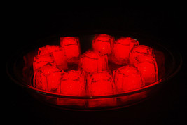 Set of 12 Litecubes Jewel Color Tinted Ruby Red Light up LED Ice Cubes - $32.49 CAD