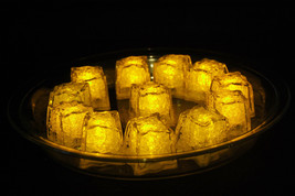 Set of 12 Litecubes Jewel Color Tinted Topaz Yellow Light up LED Ice Cubes - $32.49 CAD