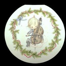1 Vtg Hallmark Holiday Card Unused Round Betsy Clark Baby Girl Playing Violin - $5.91