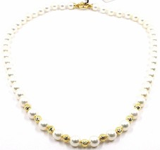 Necklace, Closing Yellow Gold 18K, White Pearls 7-7.5 mm, Spheres Fairisle image 1
