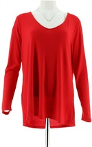 Attitudes Renee Drape Back Crepe Jersey Knit Tunic Poppy Red M NEW A290737 - $31.66