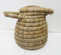 Vintage Tribal Style Hand Woven COILED Straw Pitcher Basket Container w ... - $79.95