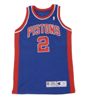 Vtg Champion Detroit Pistons Stacey Augmon #2 Stitched Game Jersey Blue ... - $989.95