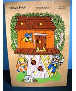 Rare Vintage Fisher Price Pick Up 'N Peek #518 Treehouse Wooden Peg Puzzle VG+++ - $32.99