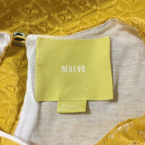 Maeve Anthropologie Women's Dress XS Yellow Lace Accent Textured Sleeveless