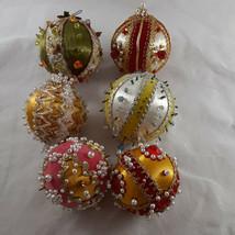 Vintage Handmade Satin Beaded Ornaments Lot of 6 - $29.69