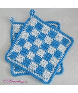 2 Crochet Pot Holders Checkered Cotton Kitchen Hot Blue Beach House Hot ... - $16.99