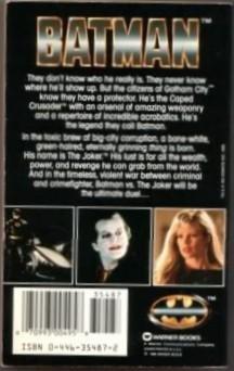 Batman Novel by Craig Shaw Gardner Adaptation Warner Books 1989