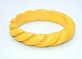 Butterscotch Yellow BAKELITE TESTED Carved Swirl Bangle Bracelet Tested - $99.00