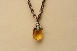 Bee Necklace Drop Of Honey Bee Pendant  - $26.00