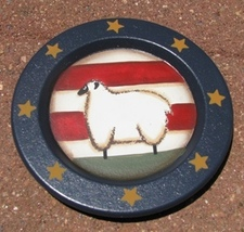 Wood Plate   RPS3 - Small Sheep Flag and Star Plate  - €3,18 EUR