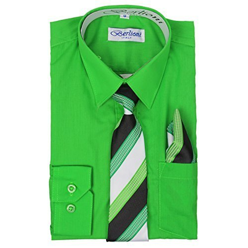 Berlioni Italy Boys Toddlers Long Sleeve Dress Shirt With Tie & Hanky