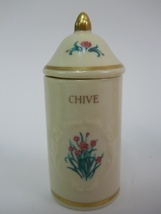 Vintage Lenox Spice Garden Chive Spice Jar Canister 24 Karat Gold Accent 1992 - $11.59