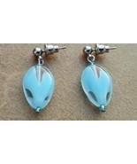 Light Blue Glass Heart Earrings Hand Made In USA Valentine Gift for Her ... - $14.99