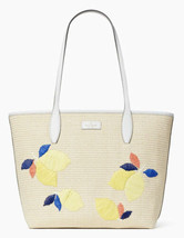 Kate Spade Ash Straw Large Top Zip Shoulder Tote Lemon Zest - $104.93