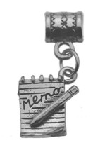 Sterling Silver 925 office memo Reminder Pencil notepad Charm Bead Secretary New - $20.05