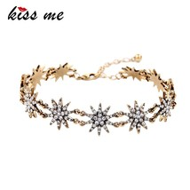 KISS ME Charming Crystal Stars Choker Antique Gold Color Vintage Necklac... - $13.31