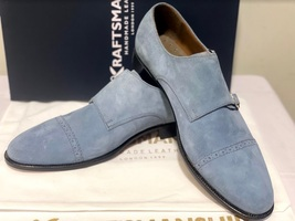 Handmade Men's Gray Suede Double Buckle Strap Dress/Formal Shoes image 10