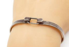 925 Sterling Silver - Vintage Petite Dark Tone Hooked Bangle Bracelet - ... - $43.67