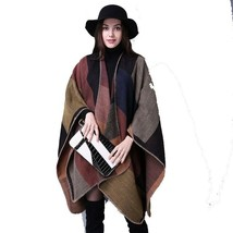 Women Cashmere Shawl Geometry Thick Green Wrap Warm Winter Wool Poncho S... - €26,61 EUR