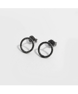 Rusty Circle Earrings - Oxydized 925 Sterling Silver Earrings. - $25.70