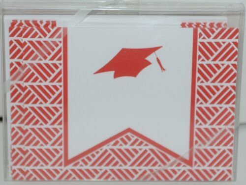 Rosanne Beck 211 0954R Red Folded Note Grad Cap Cards and Envelopes Package 10