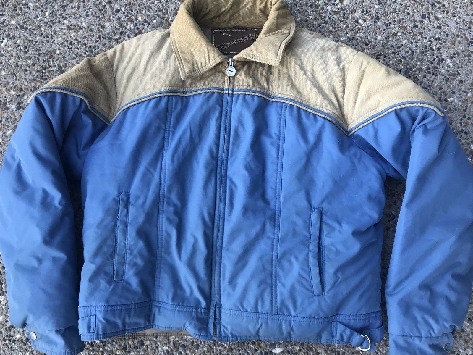 Primary image for Adventure Gear ~ Vtg Down Puffy Coat Blue Beige Corduroy Polyester ~ XL