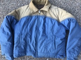Adventure Gear ~ Vtg Down Puffy Coat Blue Beige Corduroy Polyester ~ XL - $29.44