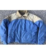 Adventure Gear ~ Vtg Down Puffy Coat Blue Beige Corduroy Polyester ~ XL - $29.44