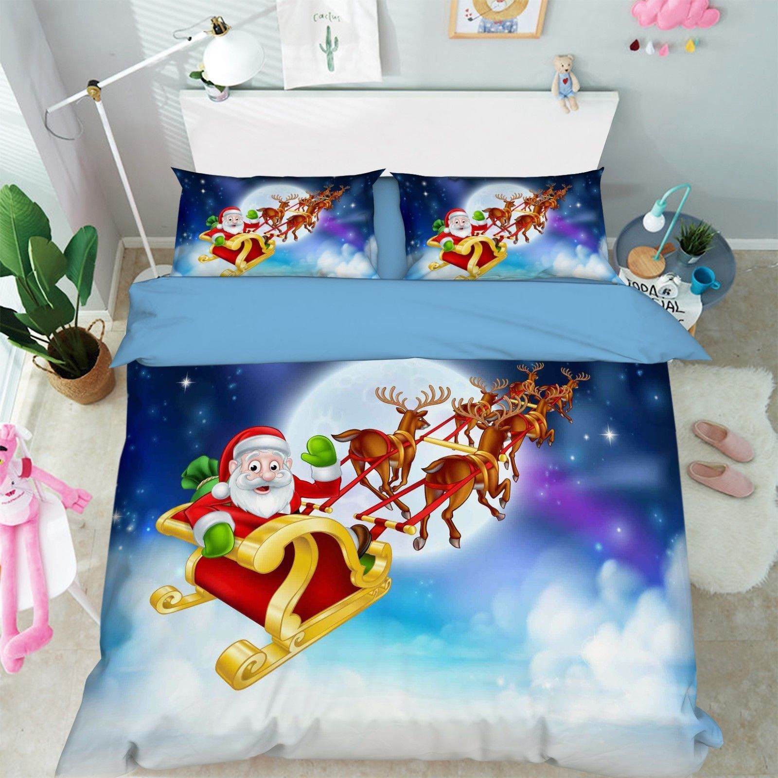 Primary image for 3D Santa Claus 9 Bed Pillowcases Quilt Duvet Cover Set Single Queen King Size AU