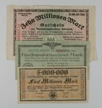 1923 Germany 3-Note Currency Set / Regional Railroad / Dresden Elberfeld... - $51.48
