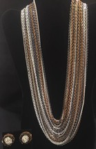 Vintage Vogue Necklace / Earrings Set - MCM - 29 Multi Color Strand Metal - $44.74